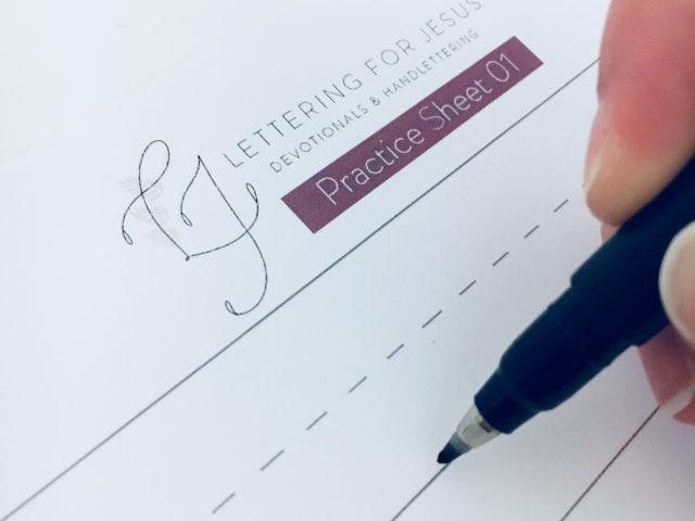Lettering for Jesus devotionals and handlettering practice sheet