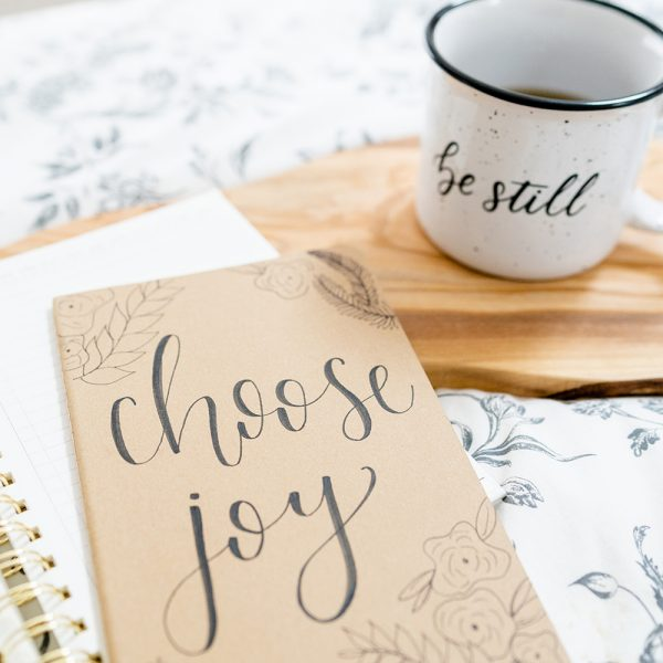 Be Still Mug and Choose Joy Journal by Lettering for Jesus