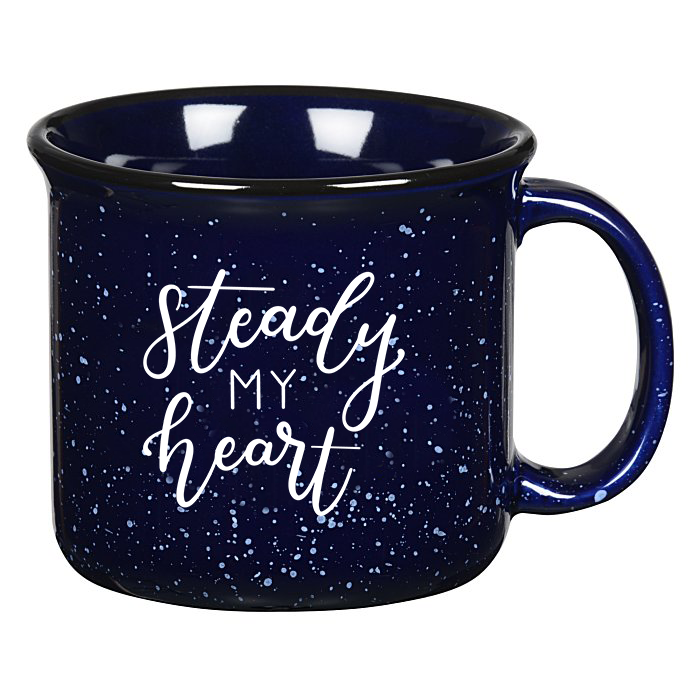 Cobalt Blue Campfire Mug with Steady My Heart White Lettering