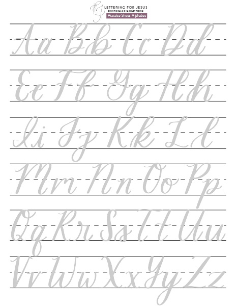 Alphabet lettering practice sheet by Lettering for Jesus